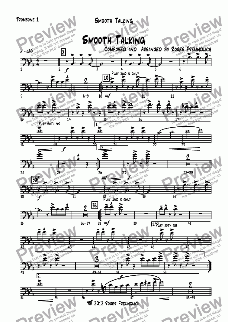 page one of the Trombone 1 part from Smooth Talking (big band)