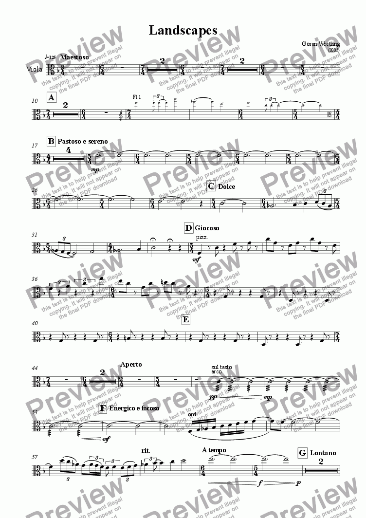 page one of the Viola part from Landscapes