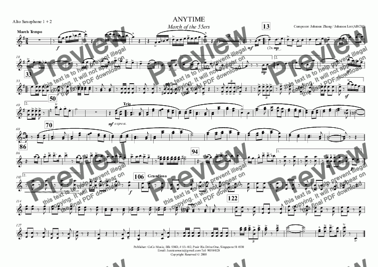page one of the Alto Saxophone 1 + 2 part from ANYTIME March of the 55ers
