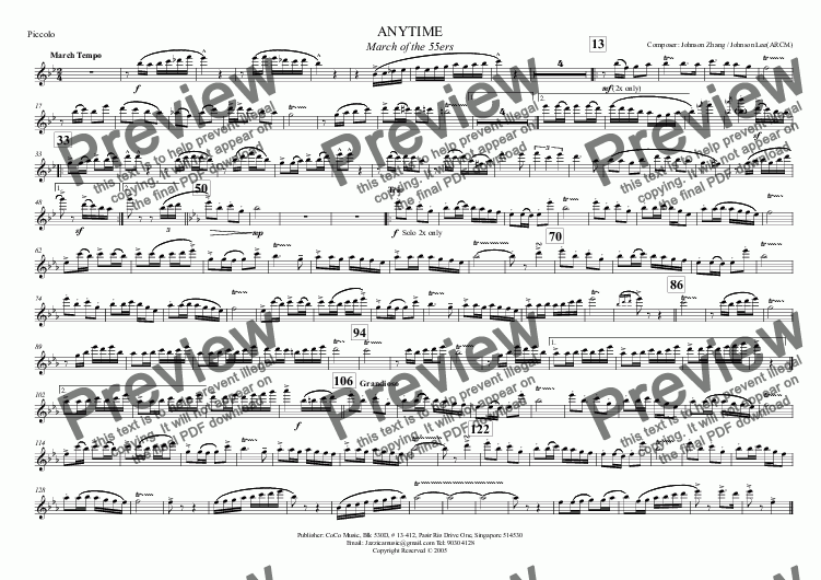 page one of the Piccolo part from ANYTIME March of the 55ers