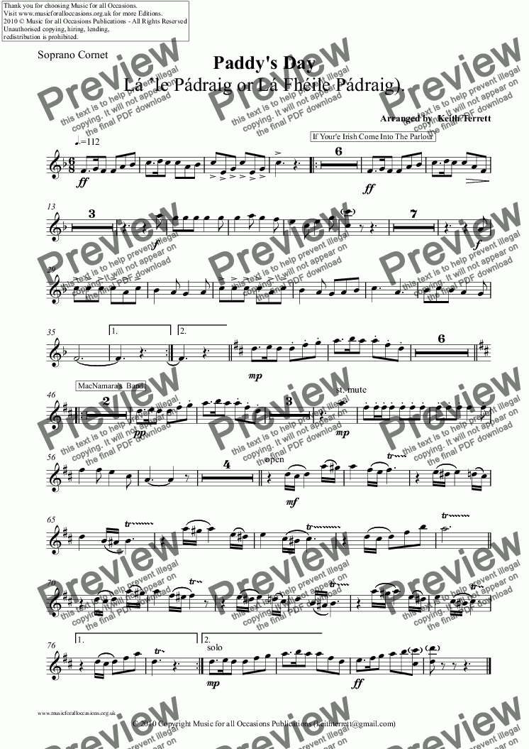 page one of the Soprano Cornet part from Paddy's Day March for Brass Band