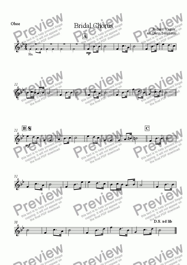 page one of the Oboe part from Wagner- Bridal Chorus