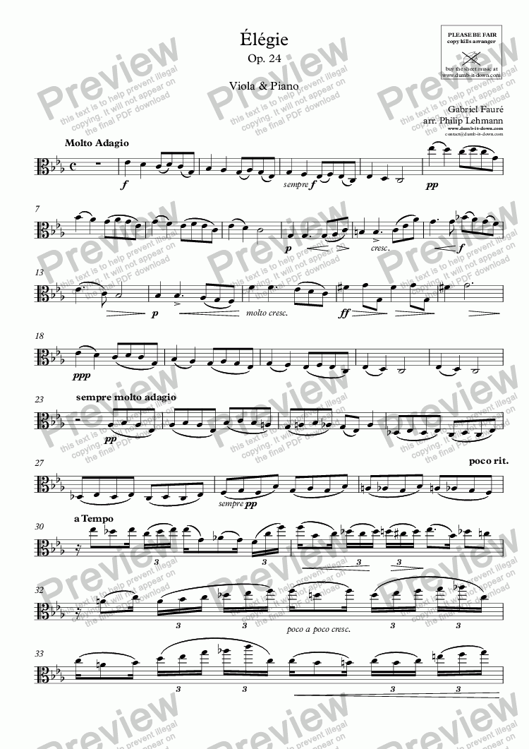 page one of the Viola part from Fauré, G. - Elegie, Op. 24 - for Viola (orig.) & Piano (simplified)