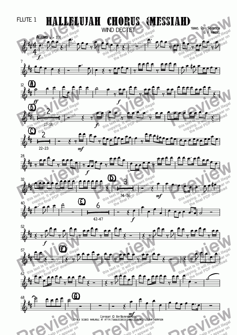 page one of the Flute 1 part from Handel: Hallelujah Chorus (Messiah) (Der Messias) arr. wind dectet (10 players)( Double wind quintet of 2 Fl, 2 Ob, 2 Cl, 2 Hn, 2 Bsn)