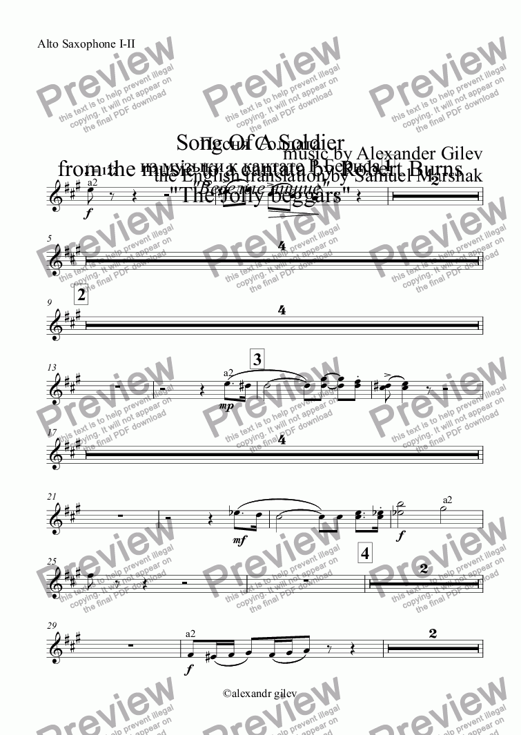 "page one of the Alto Saxophone I-II part from Song Of A Soldier from the music to a cantata by Robert Burns ""The Jolly beggars"""