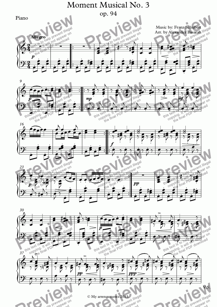 page one of the Piano part from Moment Musical No. 3 op. 94 arr. for Flute, Cello & Piano