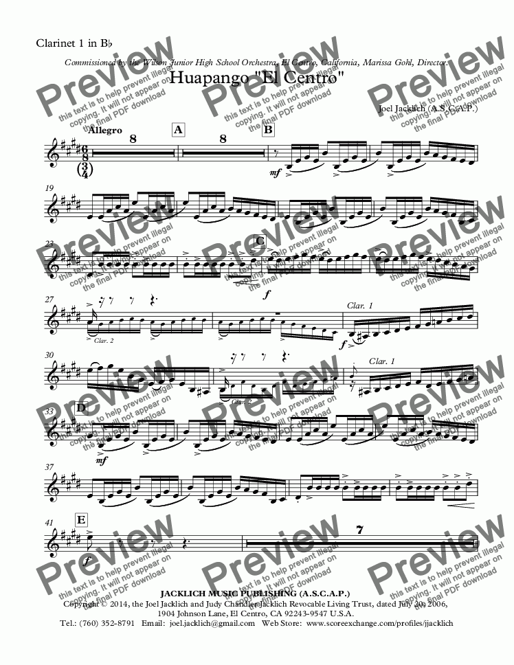 "page one of the Clarinet 1 in B-flat (Substitute) part from Huapango ""El Centro"""