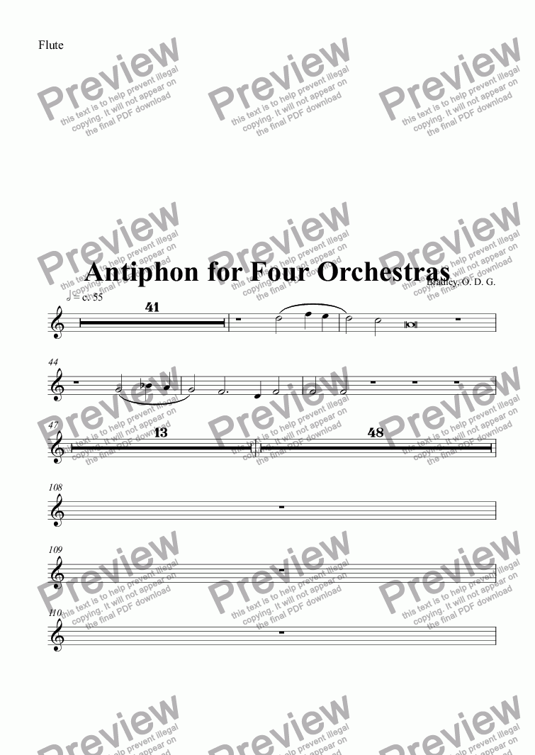 page one of the Flute part from Sanctus arranged as Antiphon for Four Orchestras