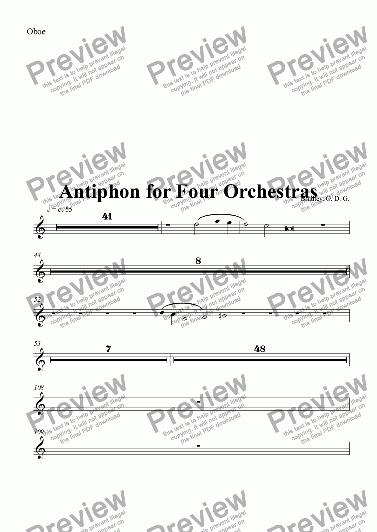 page one of the Oboe part from Sanctus arranged as Antiphon for Four Orchestras