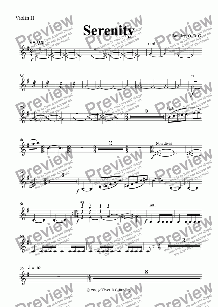page one of the Violin II part from Serenity (Orchestral Version)