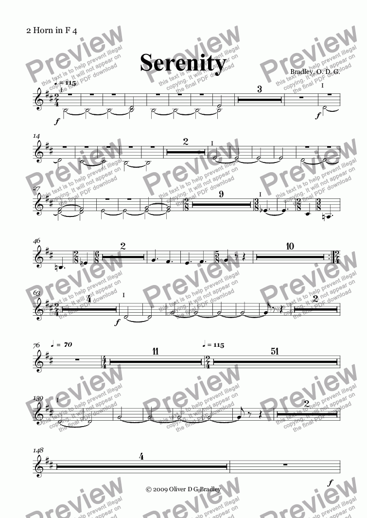 page one of the 2 Horn in F 4 part from Serenity (Orchestral Version)
