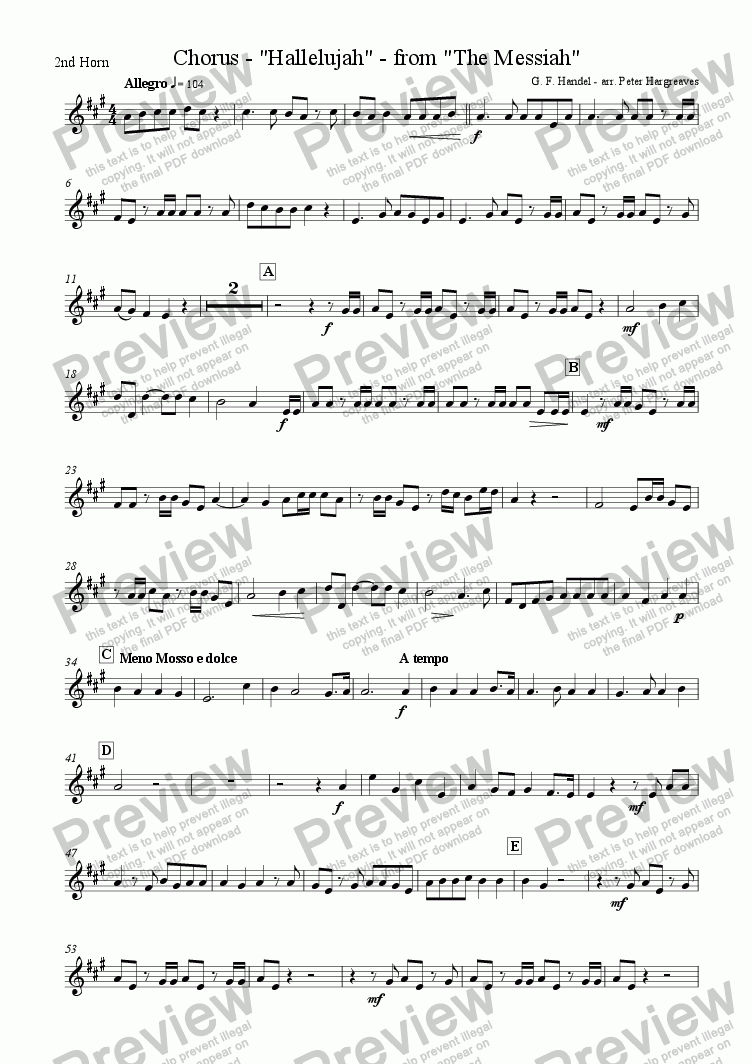 page one of the 2nd Tenor Horn part from The Hallelujah Chorus