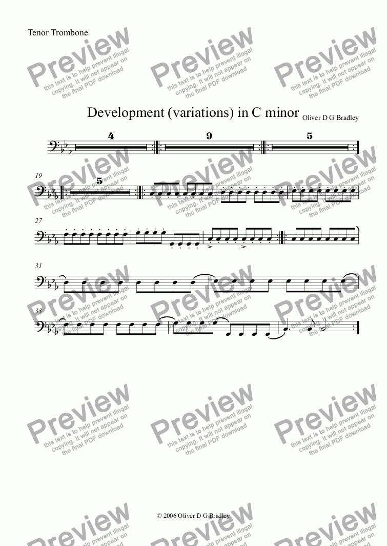 page one of the Tenor Trombone part from Development (variations) in C minor