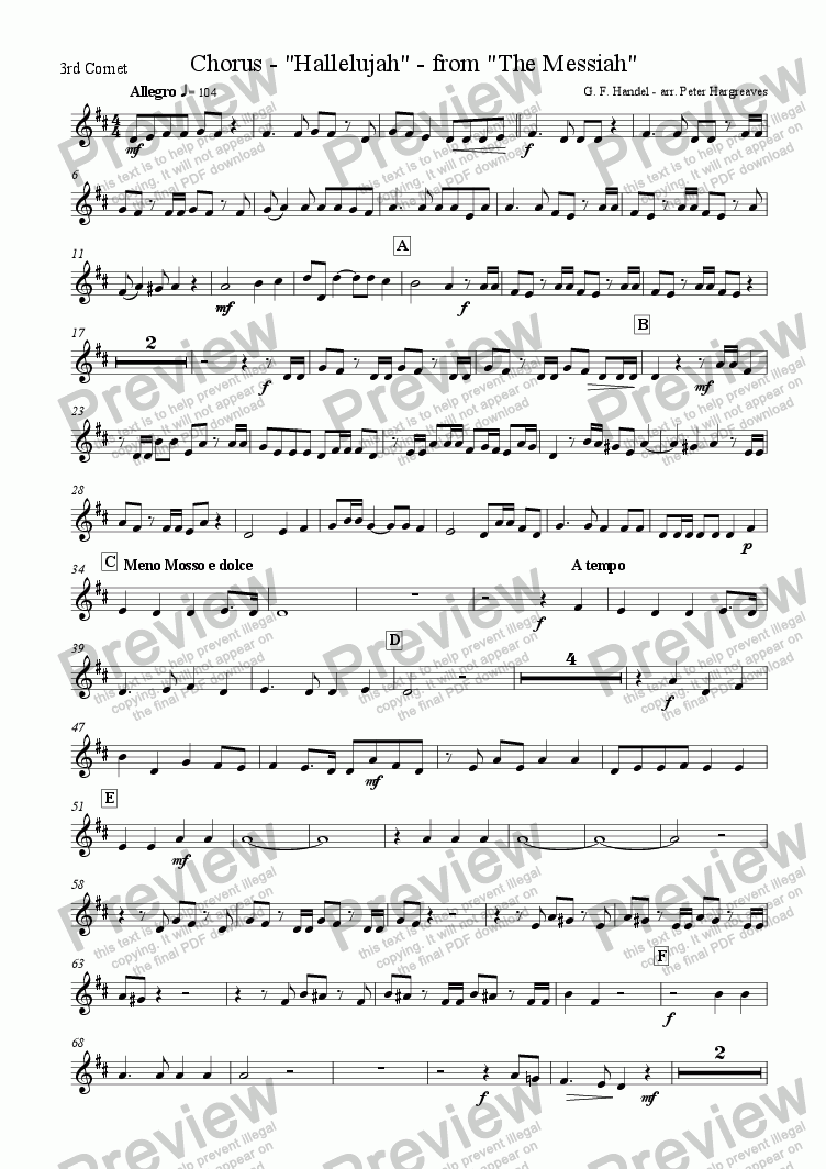 page one of the 3rd B flat Cornet part from The Hallelujah Chorus
