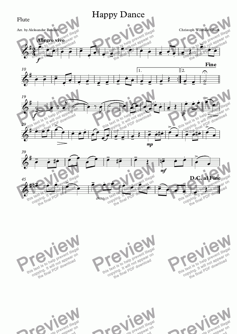 page one of the Flute part from Chr. W. Gluck - Happy Dance arr. for Flute, Cello & Piano