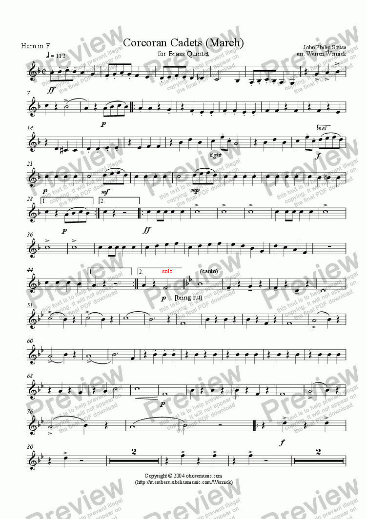 page one of the 3. Horn in F Sousa Corcoran Cadets part from Corcoran Cadets (March) for Brass Quintet