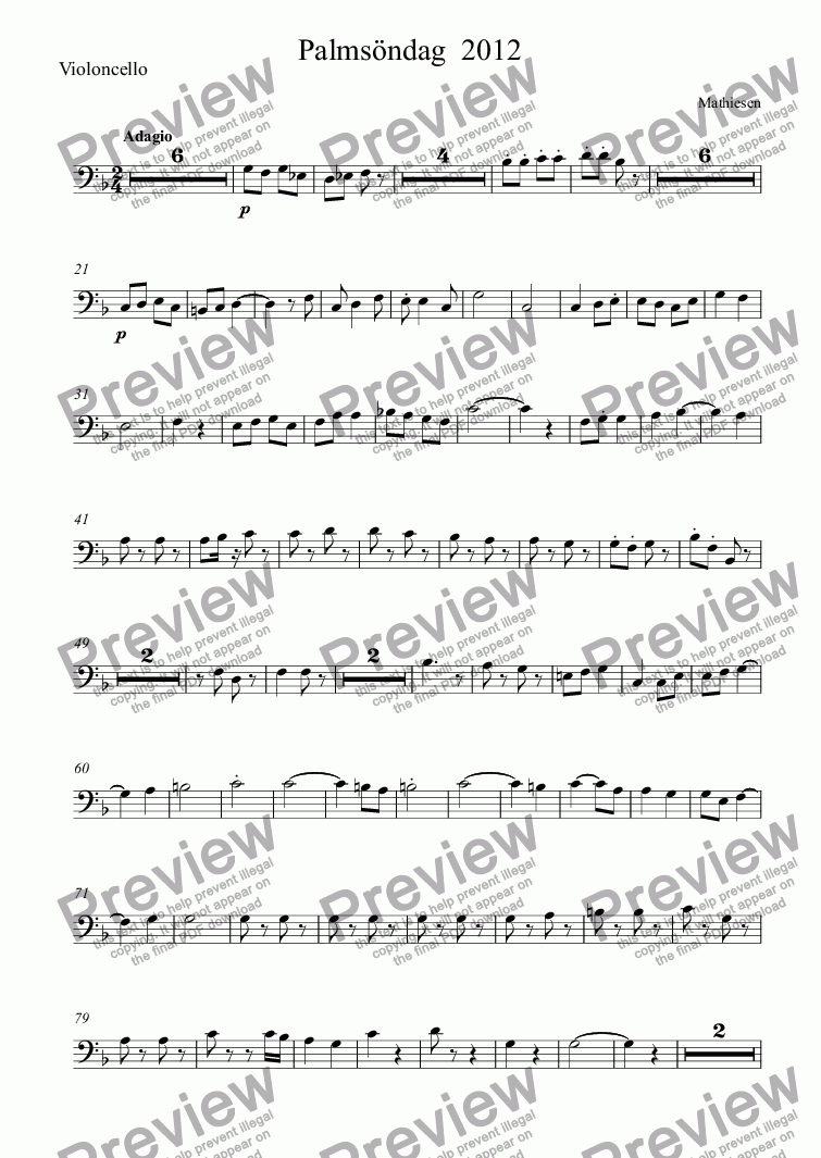 page one of the Violoncello part from Palmsöndag  2012