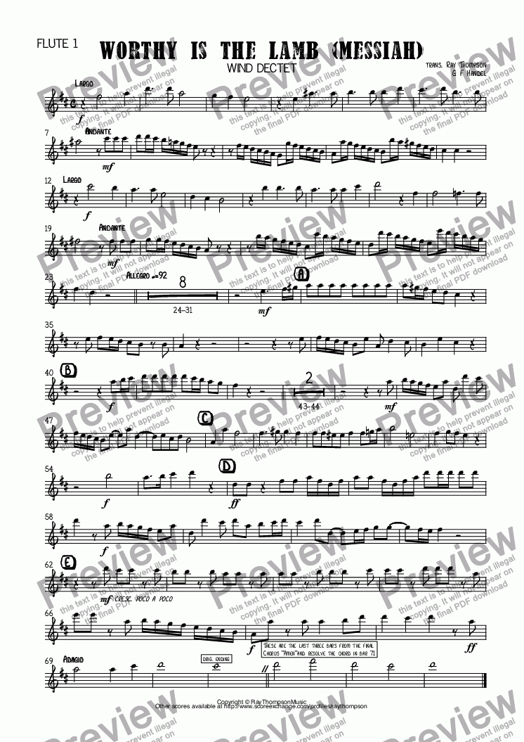 page one of the Flute 1 part from Handel: Worthy is the Lamb (Messiah)(Der Messias) arr. wind dectet (10 players)( Double wind quintet of 2 Fl, 2 Ob, 2 Cl, 2 Hn, 2 Bsn)