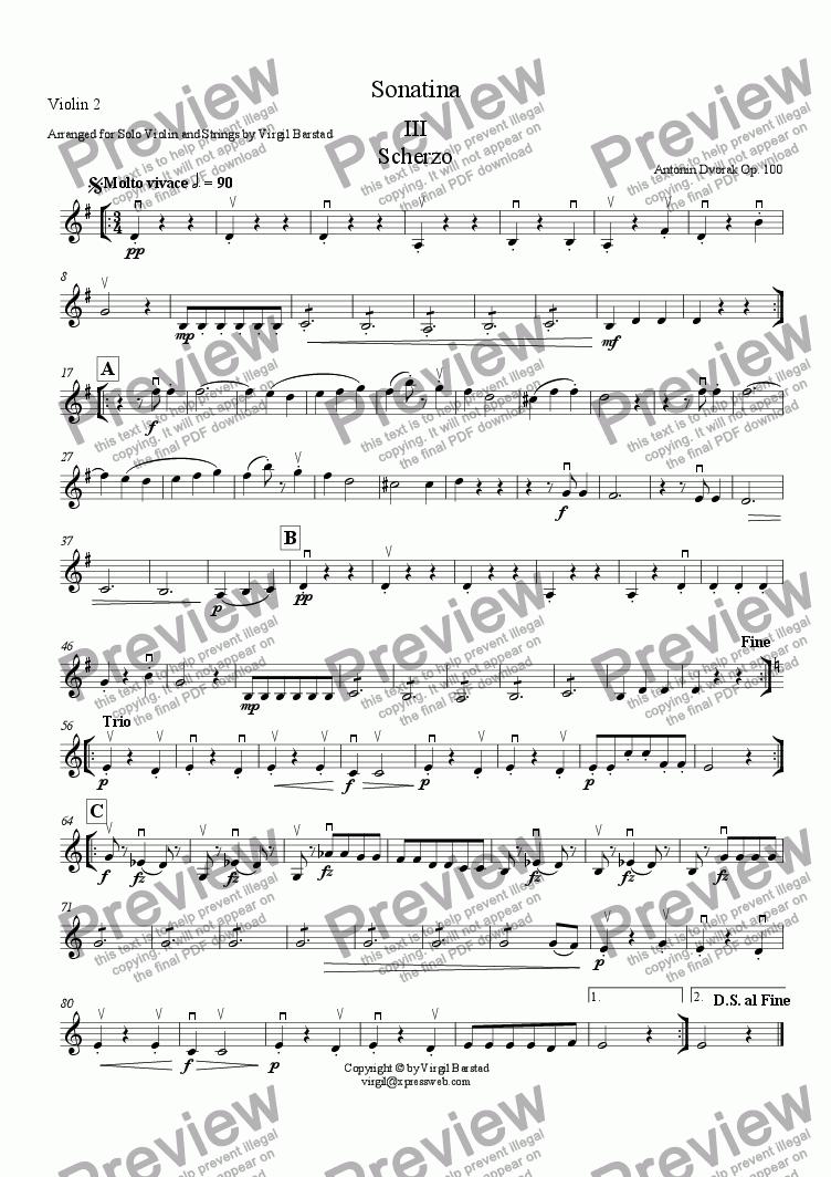 page one of the Violin 2 part from Sonatina - III