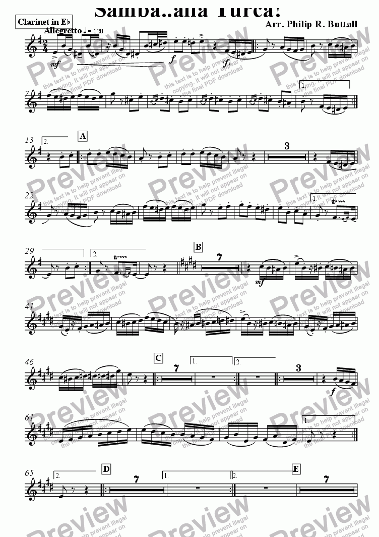 page one of the Clarinet in Eb part from Samba..alla Turca! (Pops Orchestra)