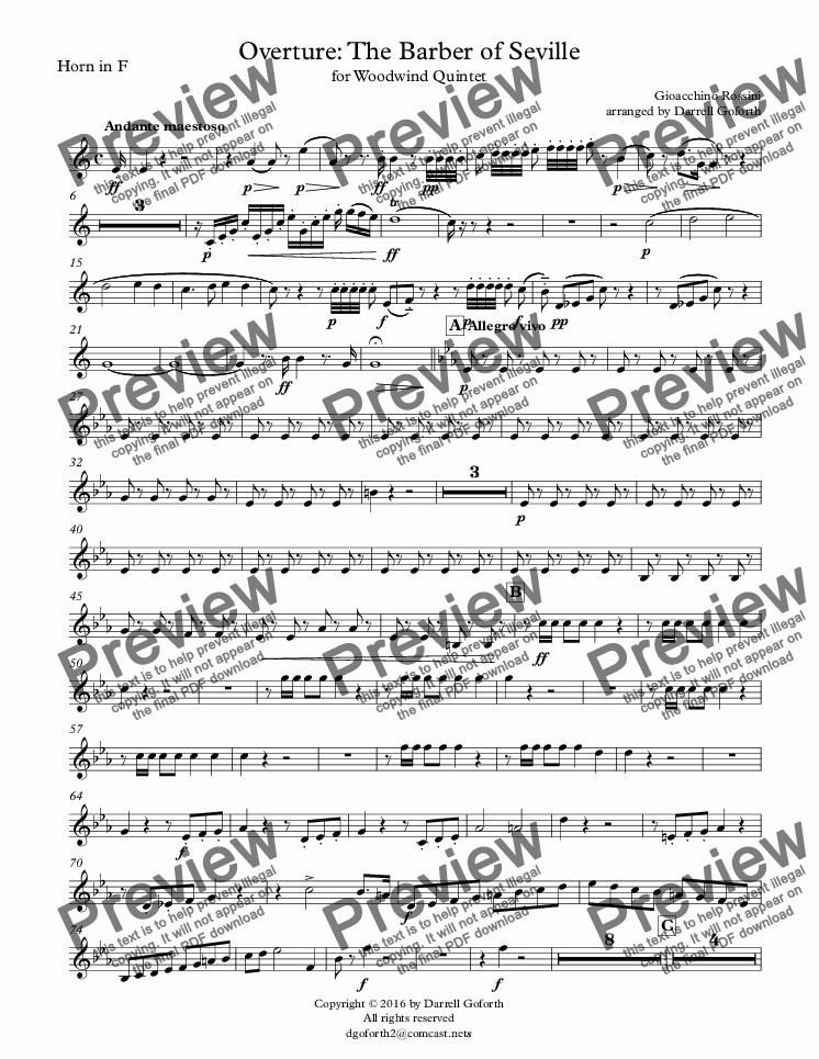 page one of the Horn in F part from Rossini: Overture to The Barber of Seville for Woodwind Quintet