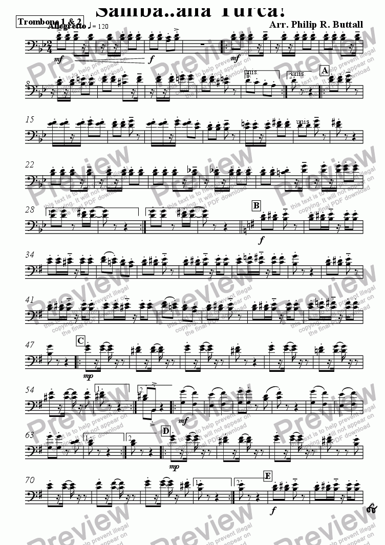 page one of the Trombone 1 & 2 part from Samba..alla Turca! (Pops Orchestra)