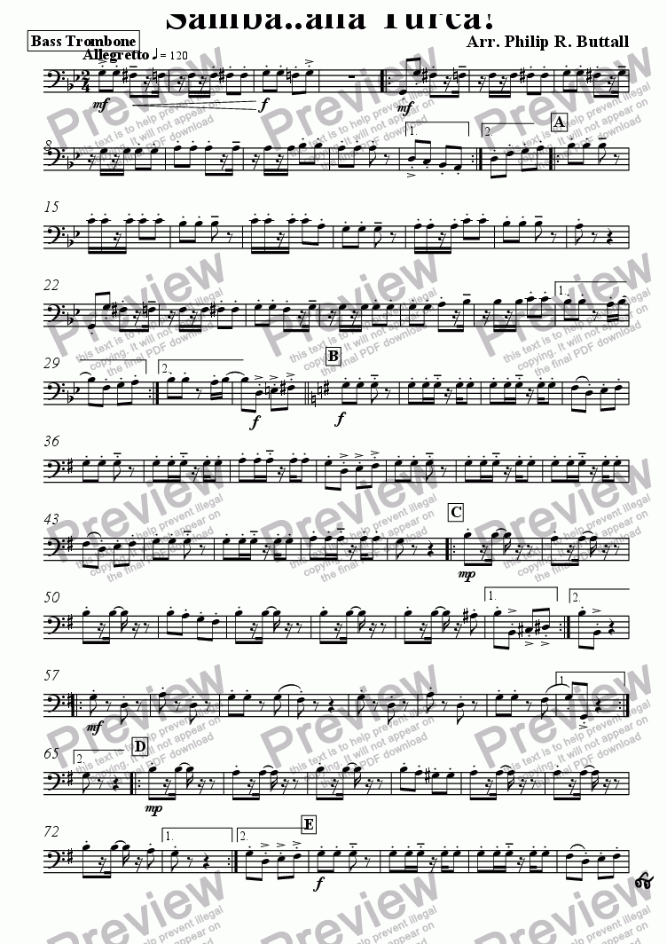 page one of the Bass Trombone part from Samba..alla Turca! (Pops Orchestra)