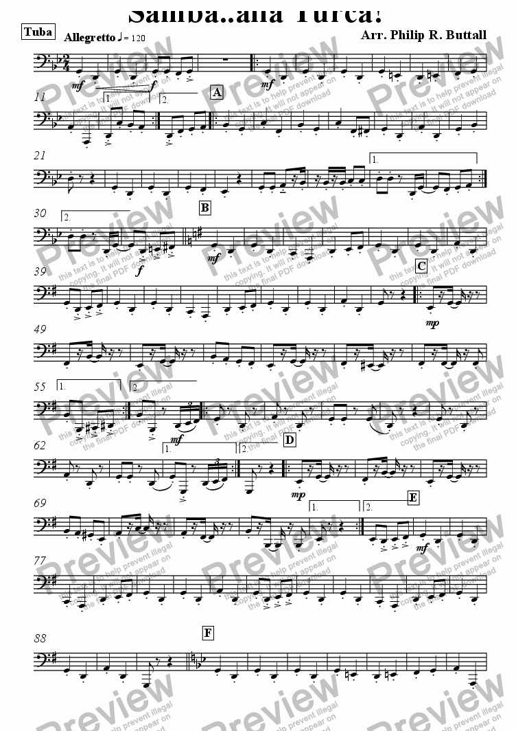 page one of the Tuba part from Samba..alla Turca! (Pops Orchestra)