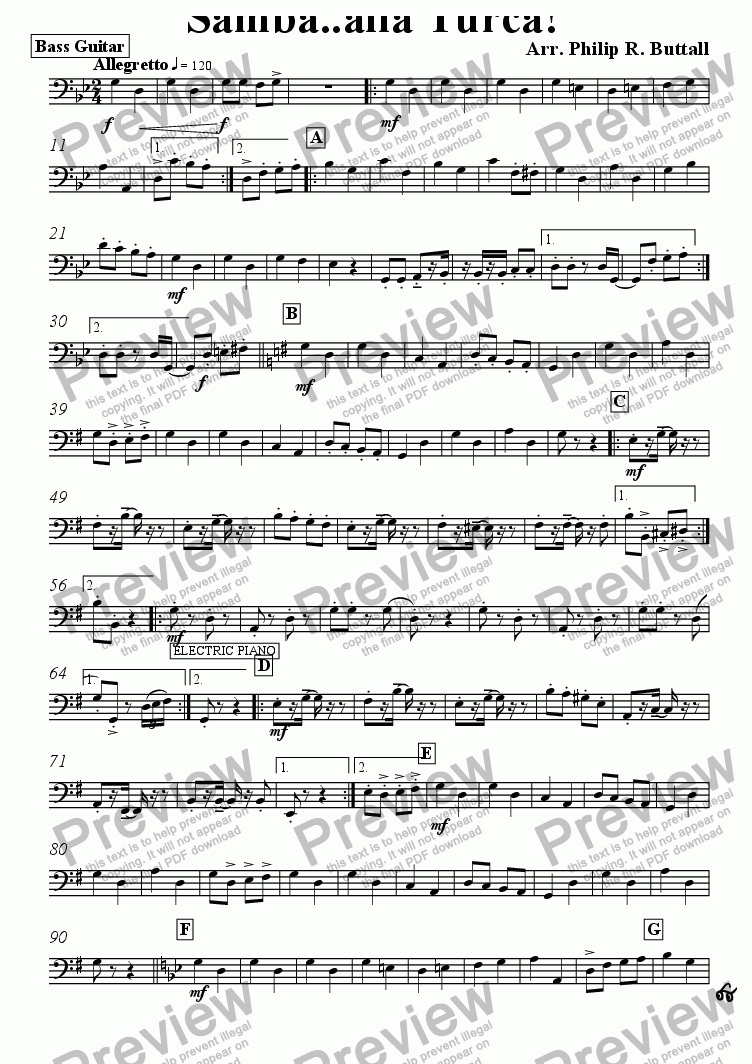 page one of the Bass Guitar part from Samba..alla Turca! (Pops Orchestra)