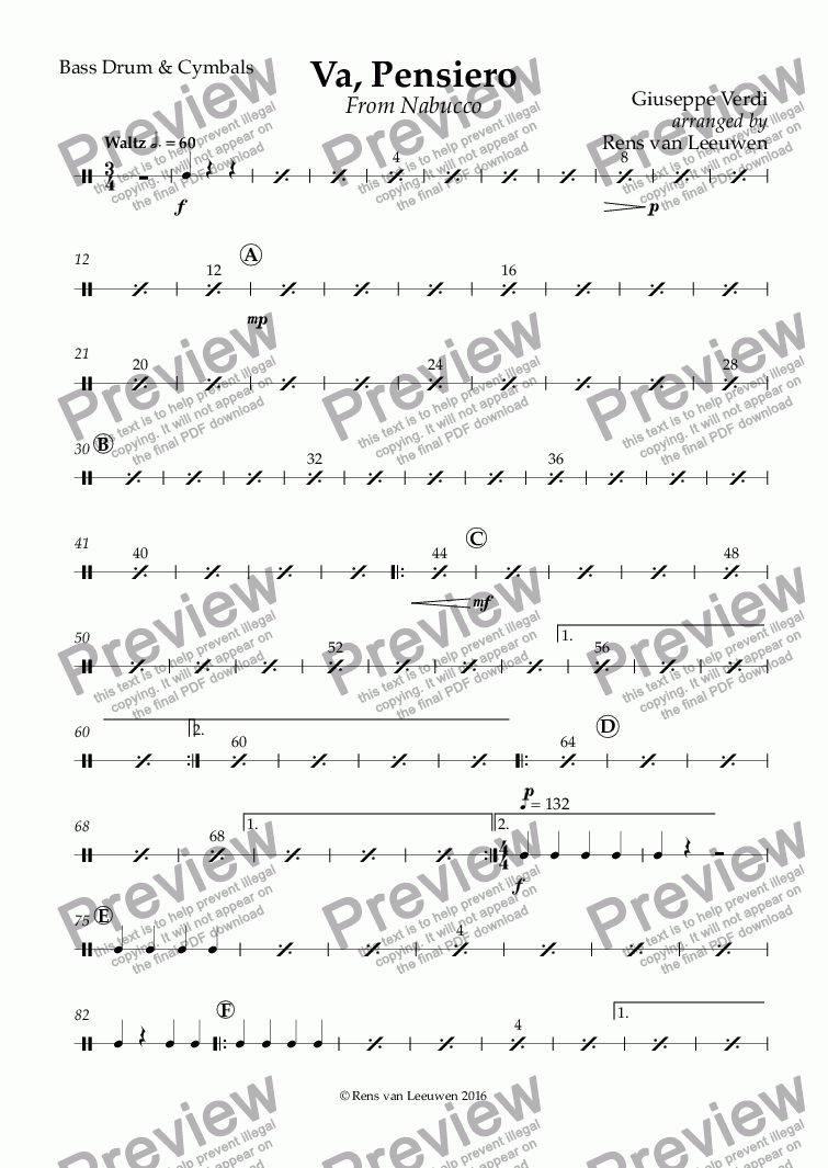 page one of the Bass Drum & Cymbals part from Va, Pensiero