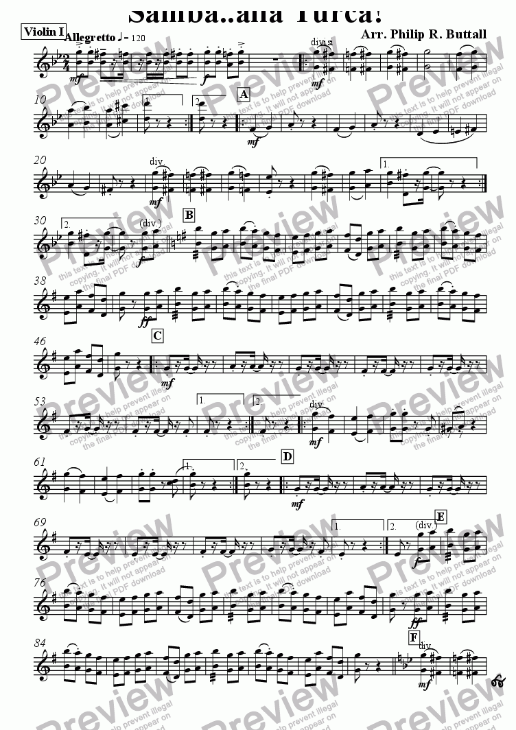 page one of the Violin I part from Samba..alla Turca! (Pops Orchestra)