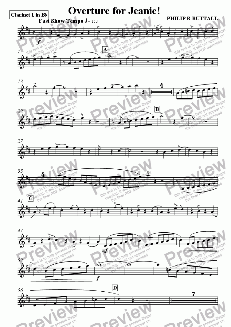 page one of the Clarinet 1 in Bb part from Overture for Jeanie! (Pops Orchestra)