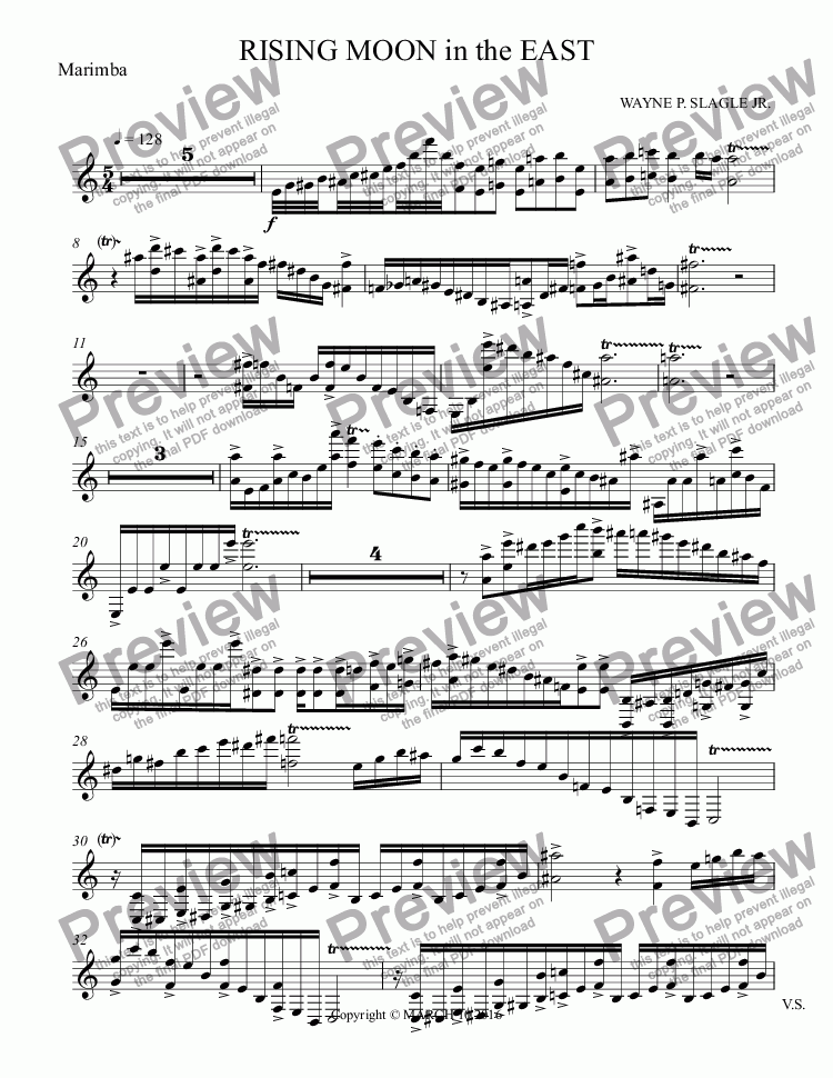 page one of the Marimba part from RISING MOON in the EAST