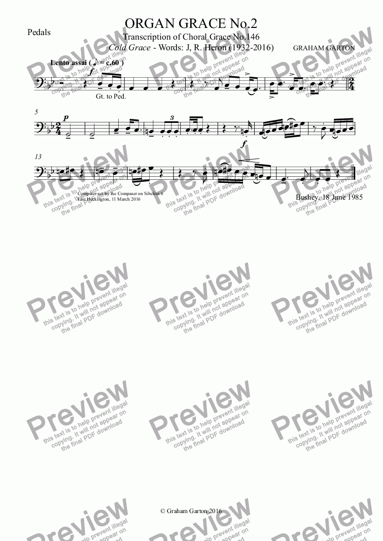 page one of the Pedals part from ORGAN GRACE No.2 Arranged from Choral Grace No.146 Cold Grace - Words: J, R. Heron (1932-2016)