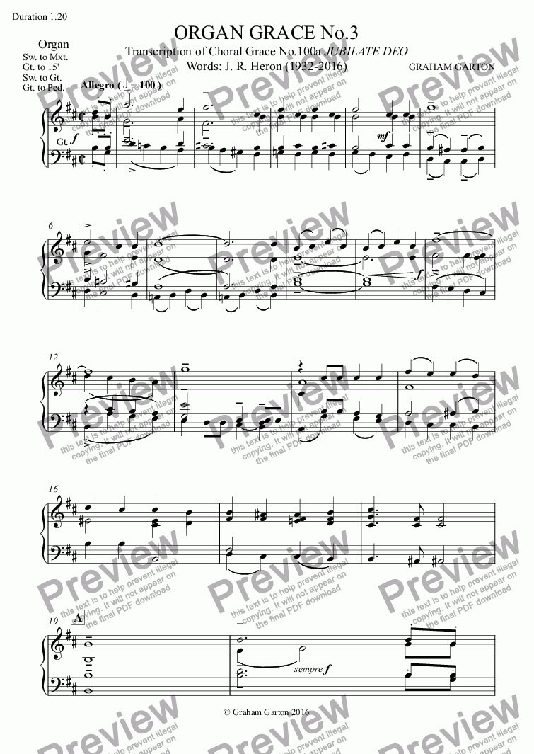 page one of the Organ part from FUNERAL MUSIC - ORGAN GRACE No.3 Transcription of Choral Grace No.100a JUBILATE DEO Words: J. R. Heron (1932-2016) Physician and Poet - Funeral 21.03.16