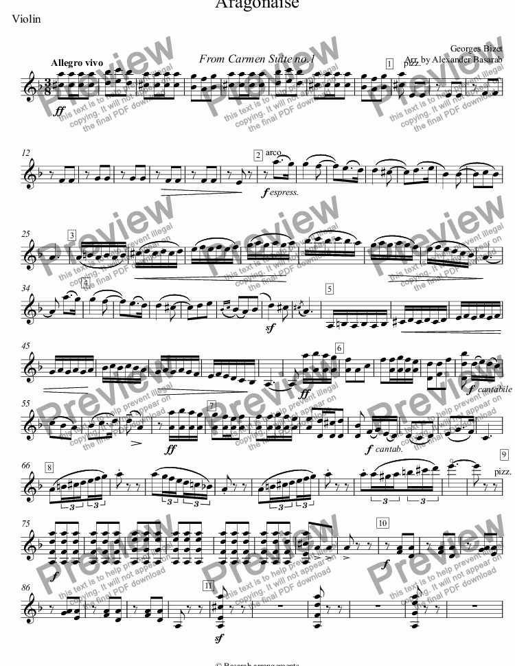 page one of the Violin part from Bizet - Aragonaise from Carmen Suite No.1