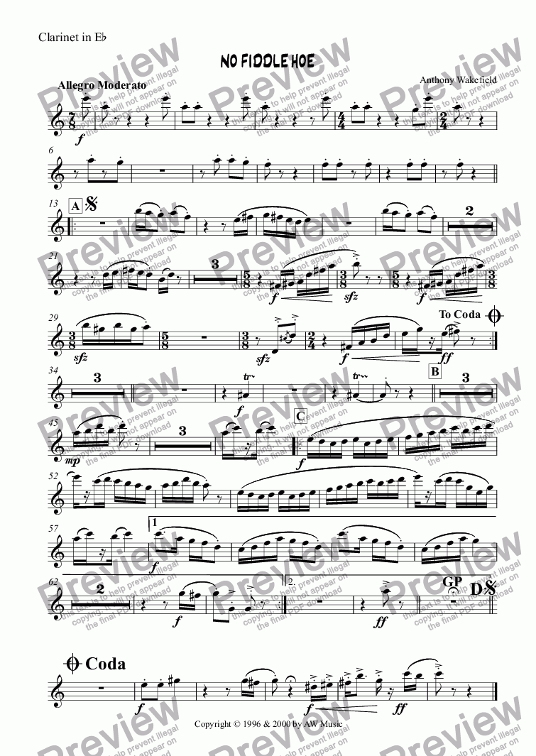 page one of the Clarinet in Eb part from No Fiddle Hoe