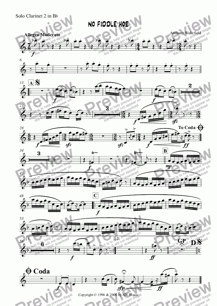 page one of the Clarinet 2a in Bb part from No Fiddle Hoe