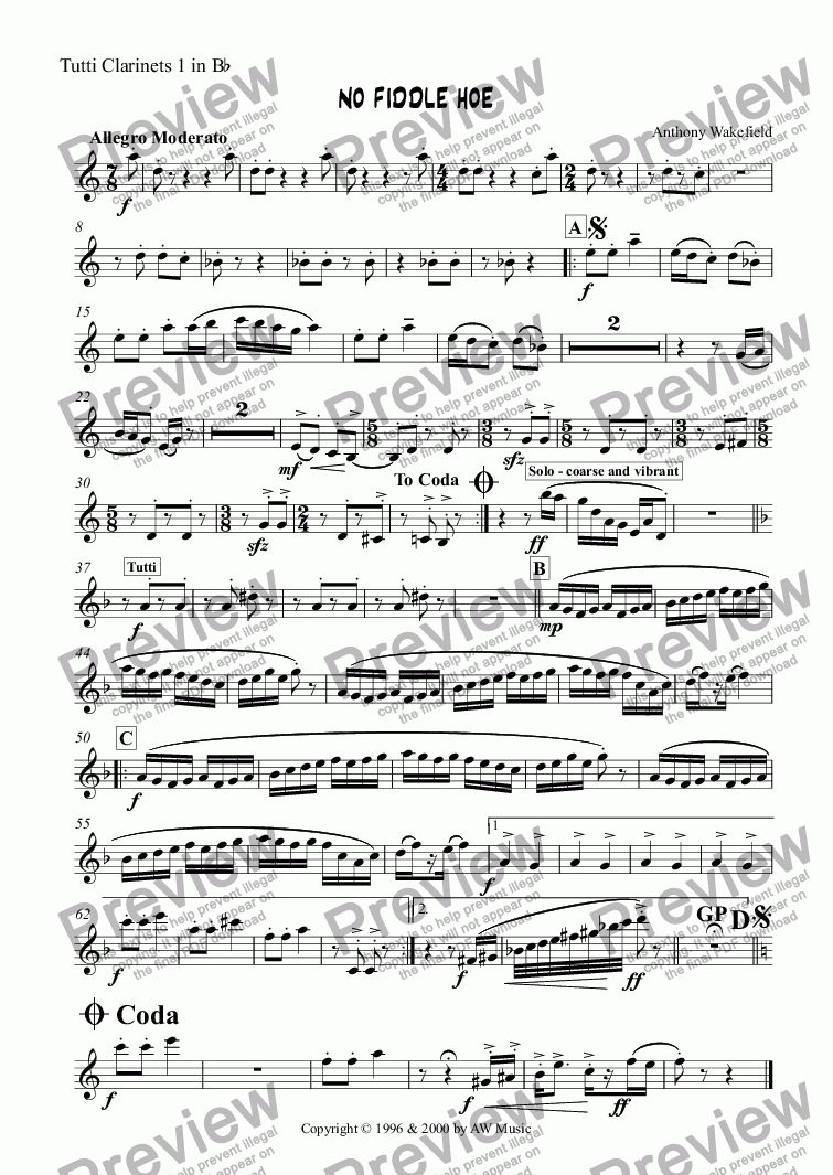 page one of the Tutti Clarinet 1 in Bb part from No Fiddle Hoe