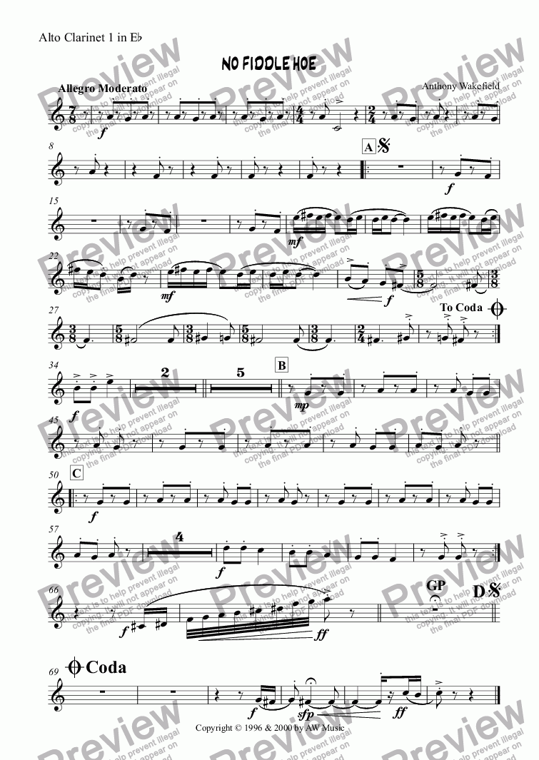 page one of the Alto Clarinet 1 in Eb part from No Fiddle Hoe
