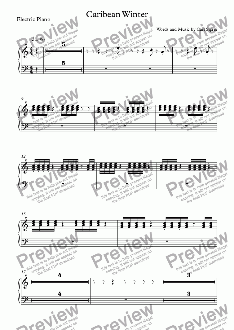 page one of the Electric Piano part from Caribbean Winter