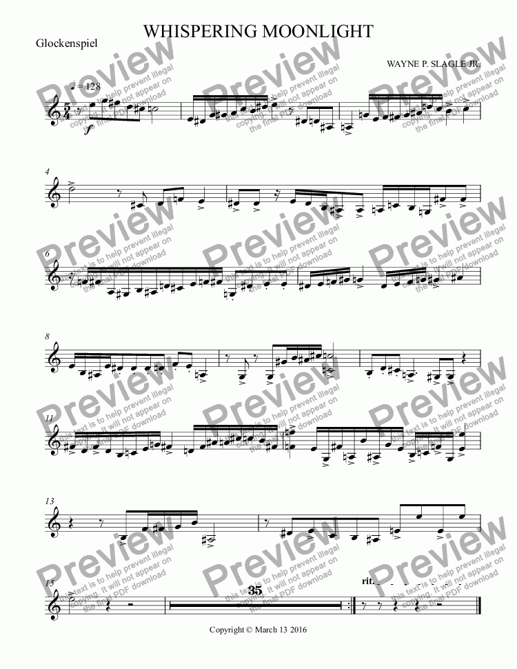 page one of the Glockenspiel part from WHISPERING MOONLIGHT