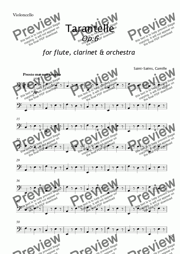 page one of the Violoncello part from Saent-Sains - TARANTELLE for Flute, Clarinet and Orchestra Op.6 - full score