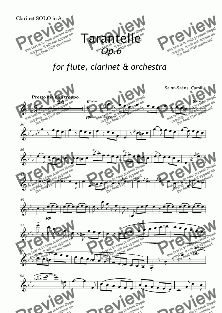 page one of the Clarinet SOLO in A part from Saent-Sains - TARANTELLE for Flute, Clarinet and Orchestra Op.6 - full score
