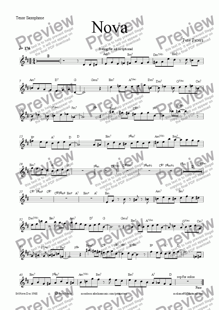 page one of the Tenor Sax part from Nova [5 piece Latin/Swing]