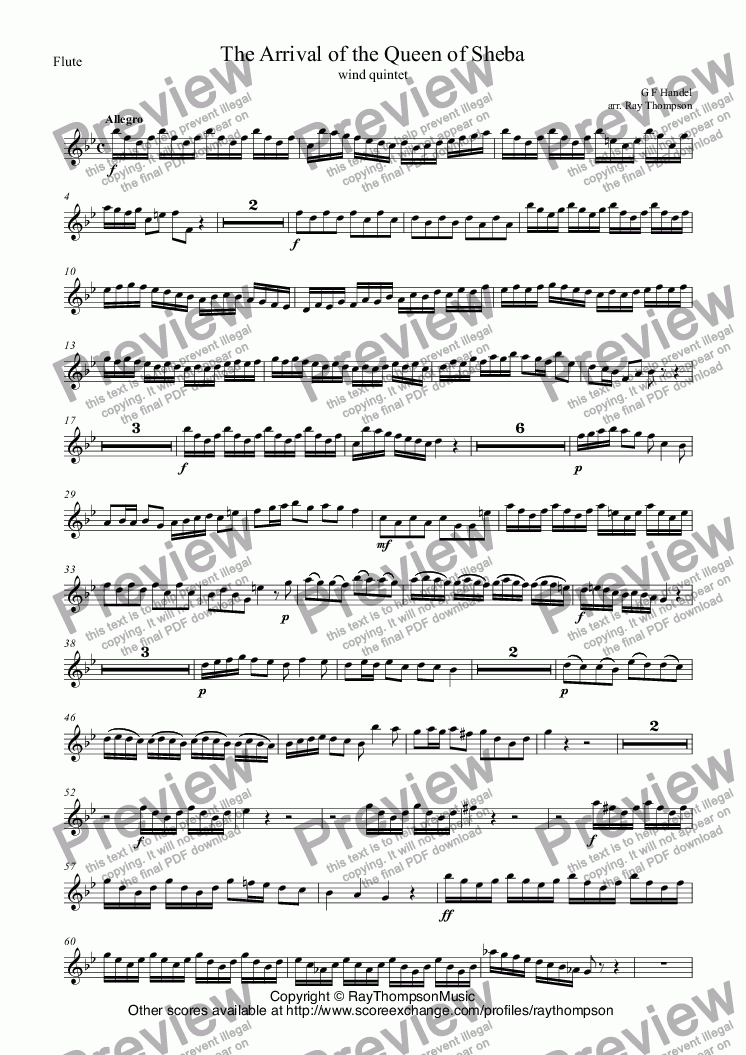 page one of the Flute part from Handel: Solomon HWV67: Sinfonia: The Arrival of the Queen of Sheba arr. wind quintet