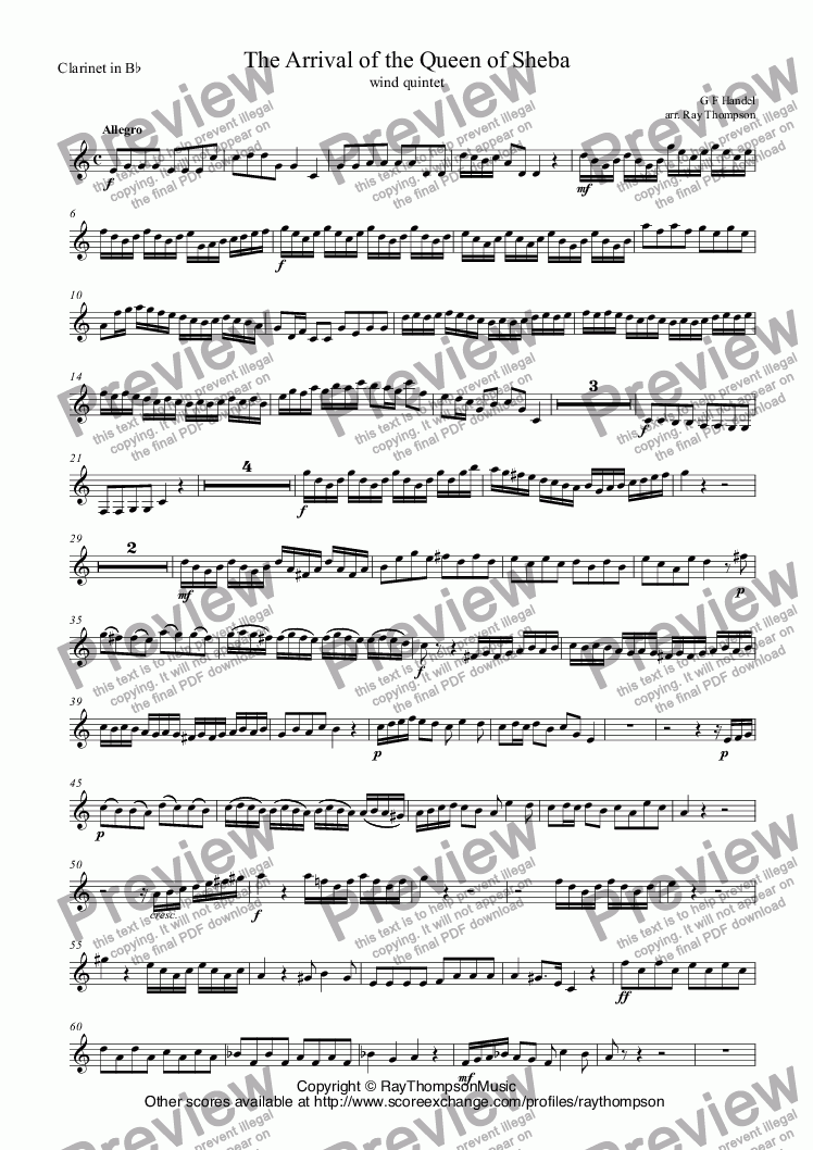 page one of the Clarinet in B^b part from Handel: Solomon HWV67: Sinfonia: The Arrival of the Queen of Sheba arr. wind quintet