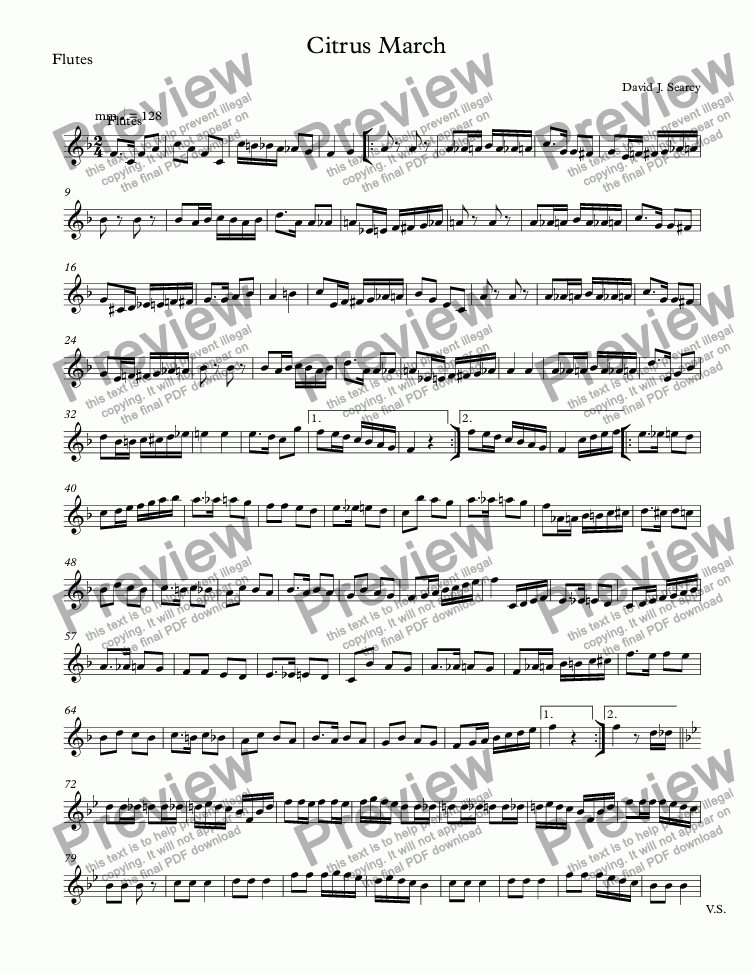page one of the Flutes part from Citrus March
