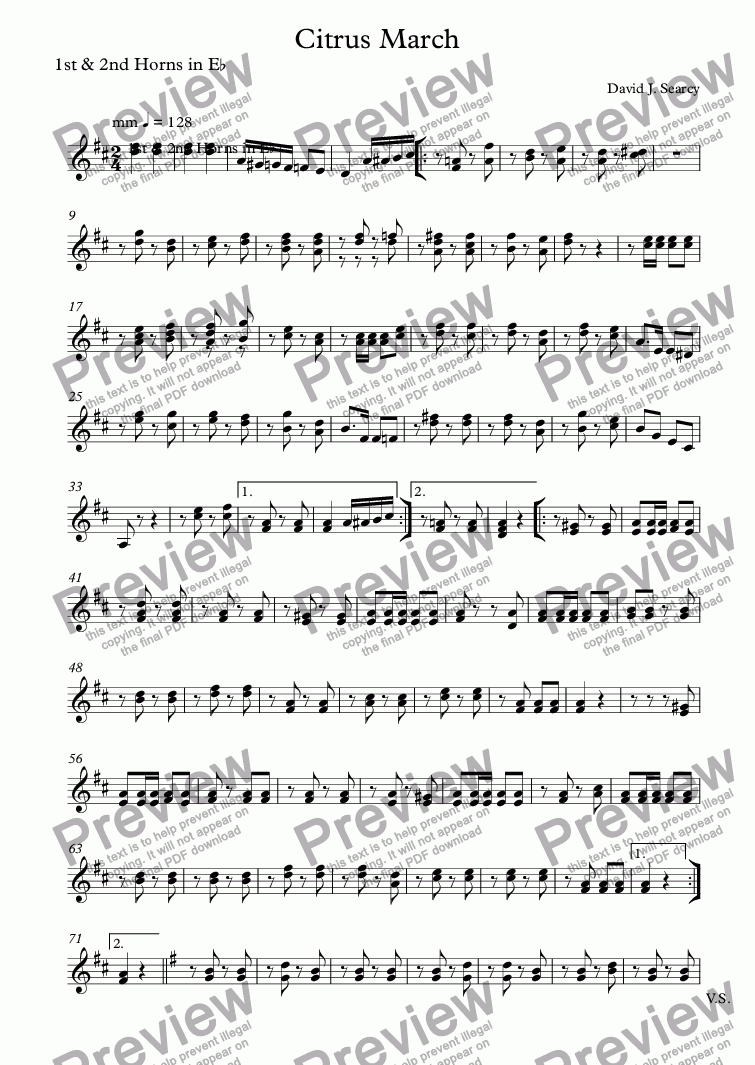page one of the 1st & 2nd Horns in E^b part from Citrus March