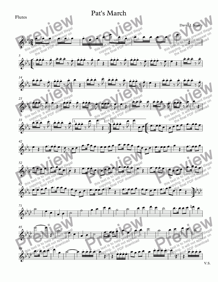 page one of the Flutes part from Pat's March